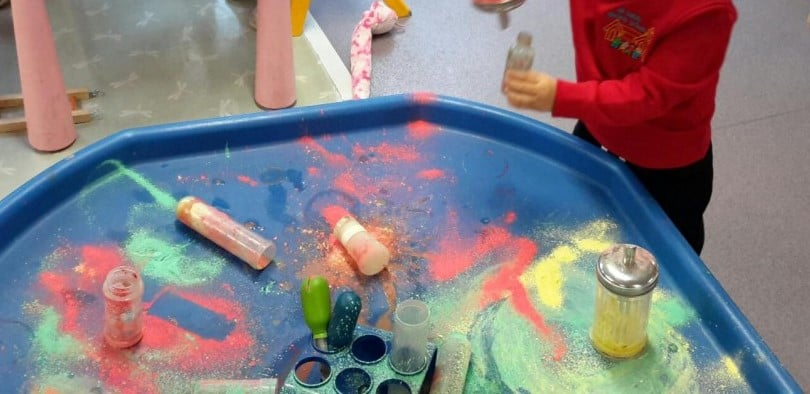 Exploring different colours and textures within the messy area.